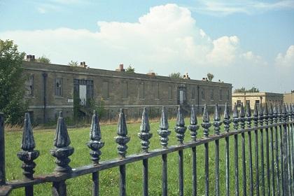 Railings outside St Georges Barracks South