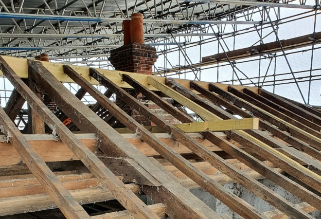 Police Barracks roof being repaired